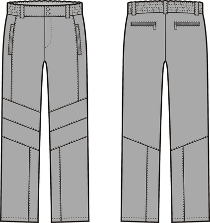 garment: Vector illustration of winter work pants. Front and back views. Coveralls