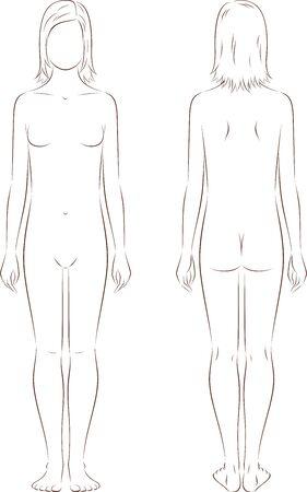 silueta humana: Ilustración vectorial de las adolescentes figura a la edad de 12 años. Vistas frontales y traseros