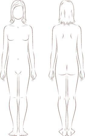 Vector illustration of female teenagers figure at the age of 12 years. Front and back views
