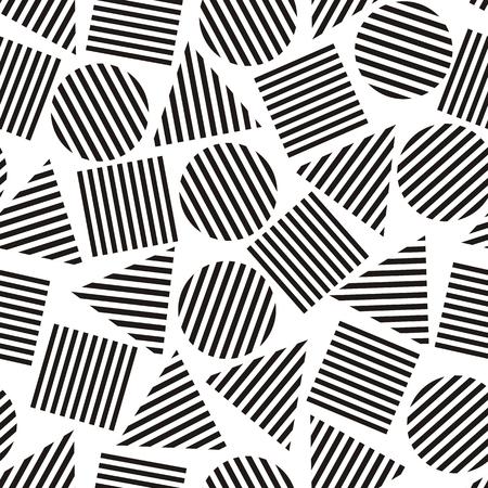 foursquare: Vector illustration of seamless geometric blackandwhite pattern with geometric figures Illustration