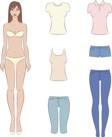 cuerpo femenino: Ilustración vectorial de muñeca de papel con un conjunto de ropa casual. Plantilla de la moda femenina