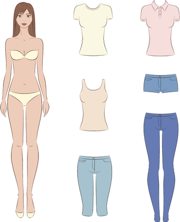 Vector illustration of paper doll with a set of casual clothes. Female fashion template