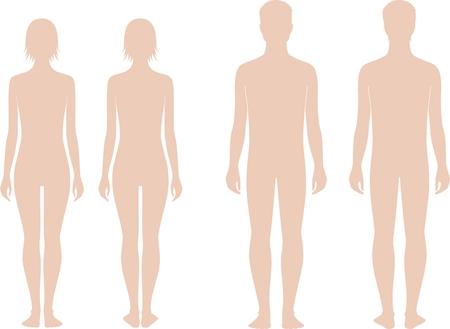 Ilustración vectorial de adolescentes masculinos y femeninos figura a la edad de 15 años. Vistas frontales y traseros