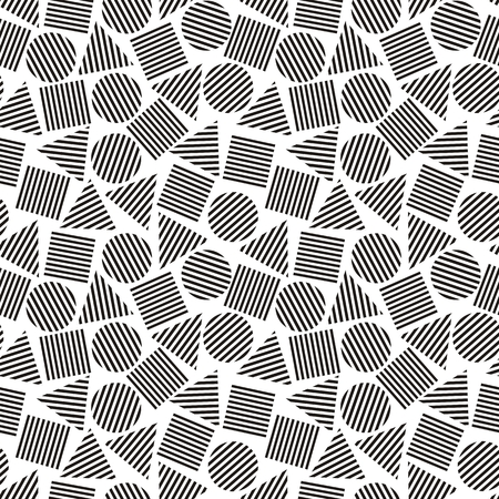 foursquare: Vector illustration of seamless geometric black-and-white pattern with geometric figures