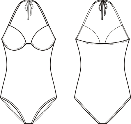 woman back: Vector illustration of womens one piece swimsuit. Front and back views