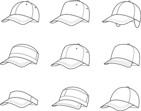 baseball caps: Vector illustration of baseball caps. Different models Illustration