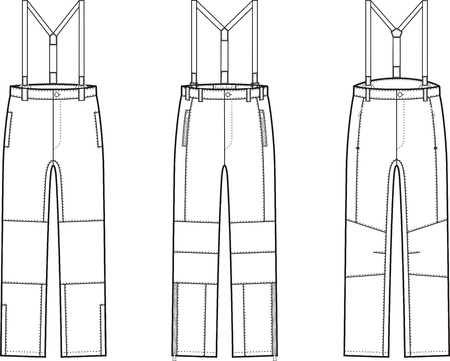 suspender: Vector illustration of winter work pants with braces. Coveralls