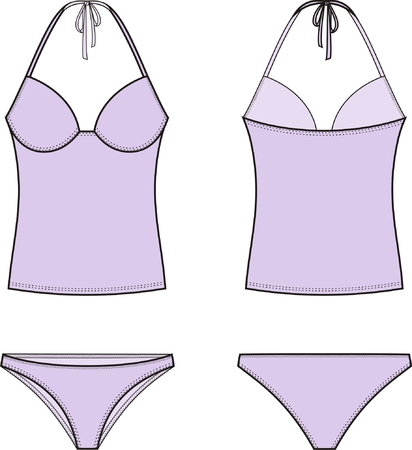 elastic garments: Vector illustration of womens swimsuit. Top and panties. Front and back views