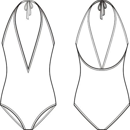 maillot de bain: Vector illustration de femmes un maillot de bain pièce. Vues avant et arrière Illustration