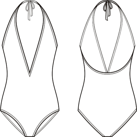 one piece swimsuit: Vector illustration of womens one piece swimsuit. Front and back views
