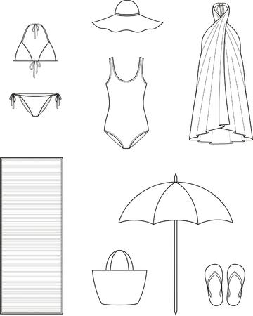 femme dessin: Vector illustration de vêtements et d'accessoires de plage femmes estivales
