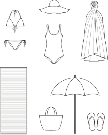 elastic garments: Vector illustration of womens summer beach clothes and accessories Illustration
