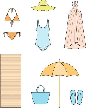 dibujo tecnico: Ilustración del vector de ropa y accesorios de playa para mujer verano
