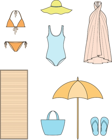 beach clothes: Vector illustration of womens summer beach clothes and accessories Illustration