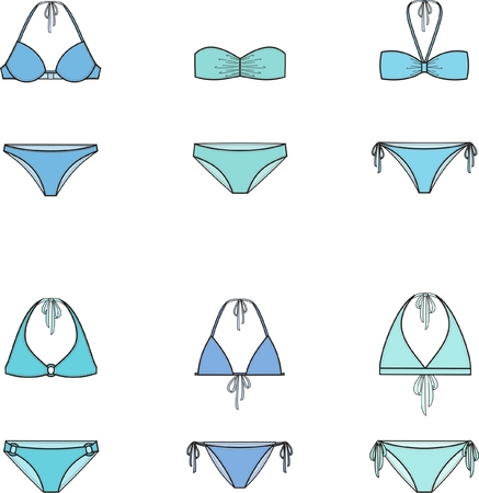 swimwear: Vector illustration of womens bikini