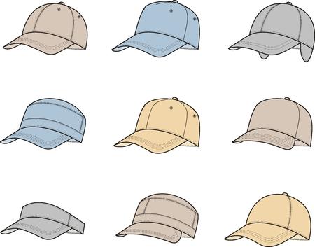 caps: Vector illustration of baseball caps. Different models Illustration