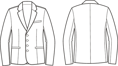 garment: Vector illustration of mens business jacket. Front and back views