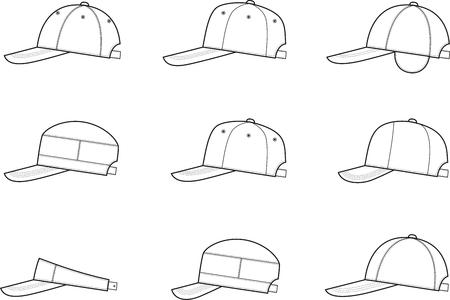 ropa de verano: Ilustración vectorial de la gorra de béisbol. Diferentes modelos