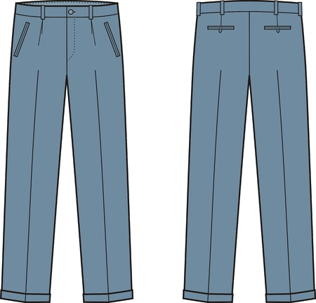 garment: Vector illustration of mens business pants. Front and back views
