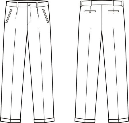 back belt: Vector illustration of mens business pants. Front and back views