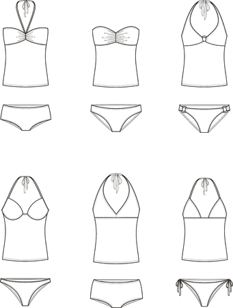 Vector illustration of womens swimsuit. Top and panties Çizim