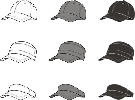 birretes: Ilustración vectorial de la gorra de béisbol en diferentes colores