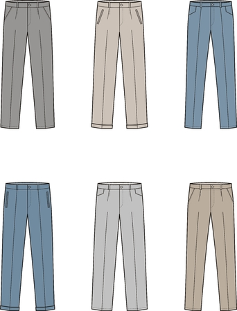 Vector illustration. Set of mens business pants