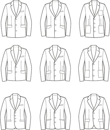pocket size: Vector illustration. Set of mens business jackets Illustration