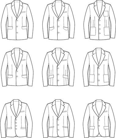pocket size: Vector illustration. Set of mens business jackets Illustration