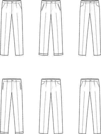 pocket size: Vector illustration. Set of mens business pants