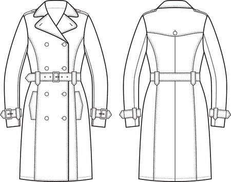double breasted: Vector illustration of womens trench coat. Front and back views