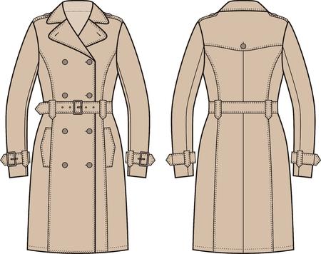 femme dessin: Vector illustration de la robe des femmes de la tranchée. Vues avant et arrière