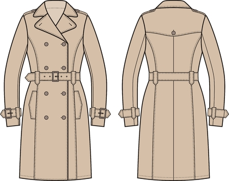 the trench: Vector illustration of womens trench coat. Front and back views
