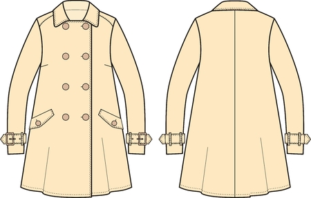 garment: Vector illustration of womens trench coat. Front and back views