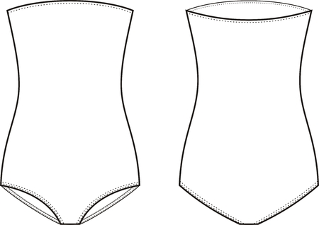 elastic garments: Vector illustration of womens one piece swimsuit. Front and back views