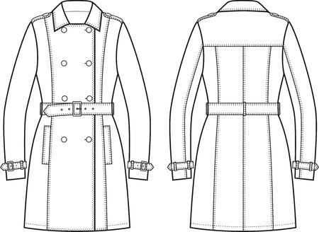 Vector illustration de la robe des femmes de la tranchée. Vues avant et arrière Vecteurs
