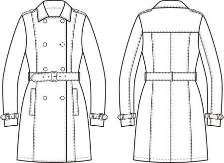 cape: Vector illustration of womens trench coat. Front and back views
