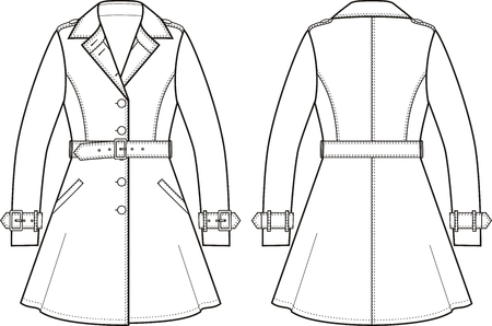 cuff: Vector illustration of womens trench coat. Front and back views