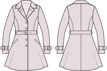 Vector illustration of womens trench coat. Front and back views