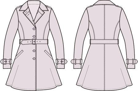 fashion: Vektor-Illustration der Frauen Trenchcoat. Vorder- und Rückseite Blick