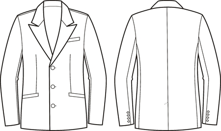 lapel: Vector illustration of mens business jacket. Front and back views