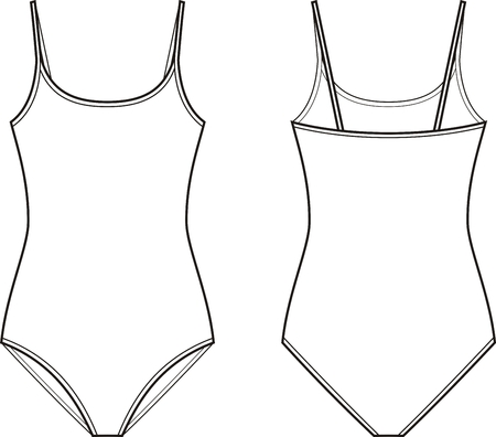 size: Vector illustration of womens one piece swimsuit. Front and back views