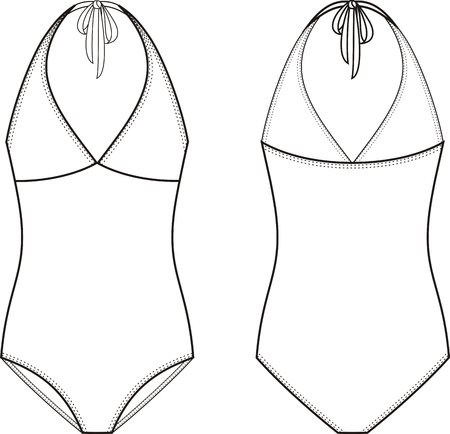garment: Vector illustration of womens one piece swimsuit. Front and back views