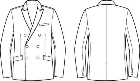 garment: Vector illustration of mens double-breasted business jacket. Front and back views