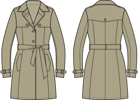 Vector illustration of women's trench coat. Front and back views