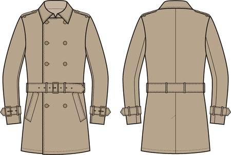 back belt: Vector illustration of mens double-breasted trench coat. Front and back views