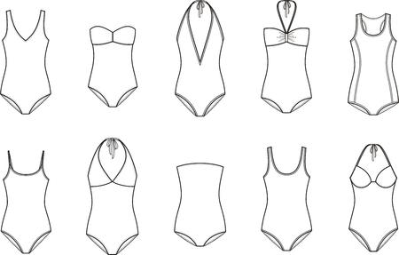 maillot de bain: Vector illustration de femmes un maillot de bain pièce