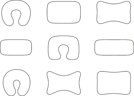 pillows: Vector illustration. Set of pillows. Different shapes
