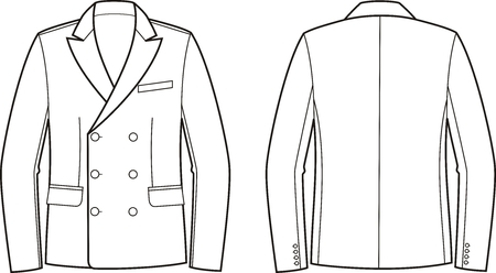 pocket size: Vector illustration of mens double-breasted business jacket. Front and back views