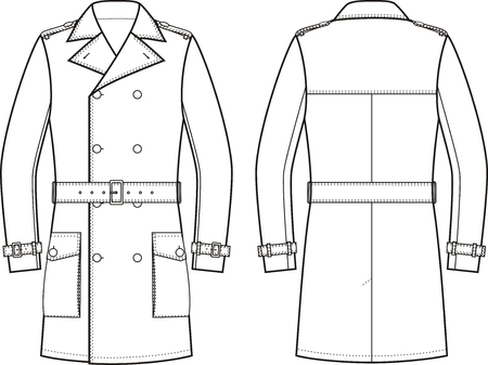 the trench: Vector illustration of mens double-breasted trench coat. Front and back views